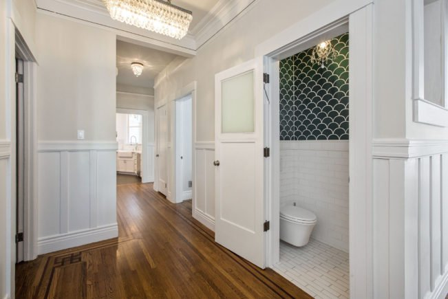 • Conversion of light well into powder room